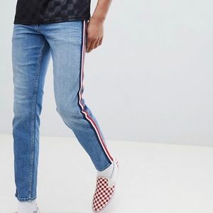 ASOS Slim Mid Wash Blue Red White Stripe Jeans